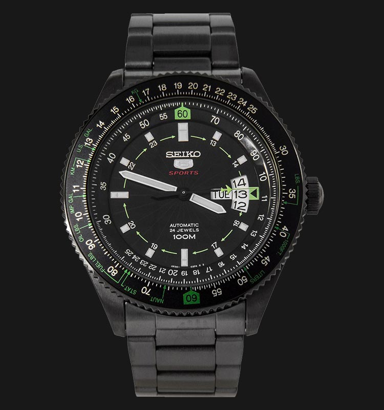 Seiko 5 Sports SRP617K1 Automatic Pilot Black Stainless Steel Machtwatch