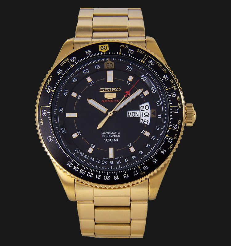Seiko 5 Sports SRP618K1 Automatic Pilot Gold Tone Stainless Steel Machtwatch