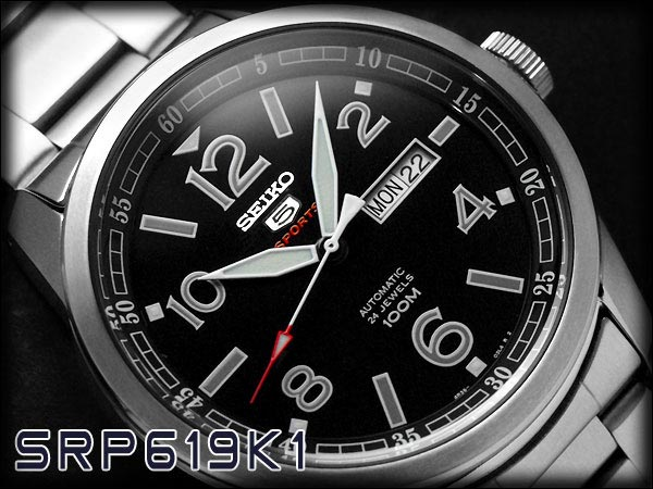 Seiko 5 Sports SRP619K1 Automatic Black Dial Stainless Steel Bracelet Machtwatch