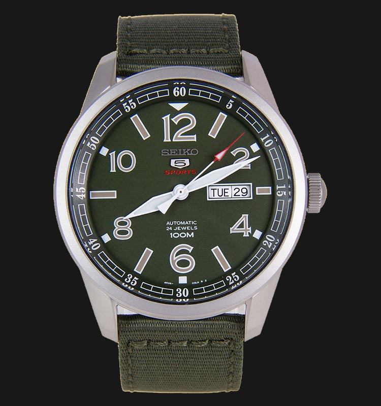 Seiko 5 Sports SRP621K1 Automatic Green Dial Stainless Steel Case Nylon Strap Machtwatch