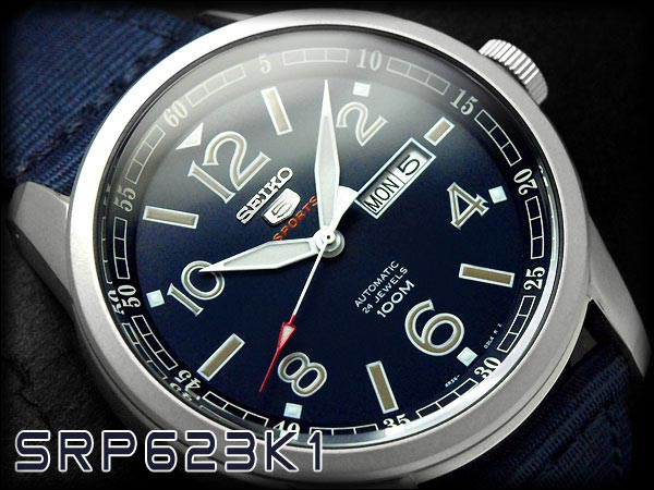 Seiko 5 Sports SRP623K1 Automatic Blue Dial Stainless Steel Case Nylon Strap Machtwatch