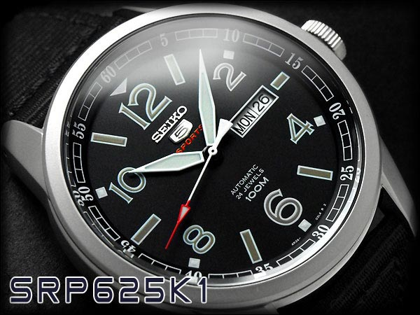 Seiko 5 Sports SRP625K1 Automatic Black Dial Stainless Steel Case Nylon Strap Machtwatch