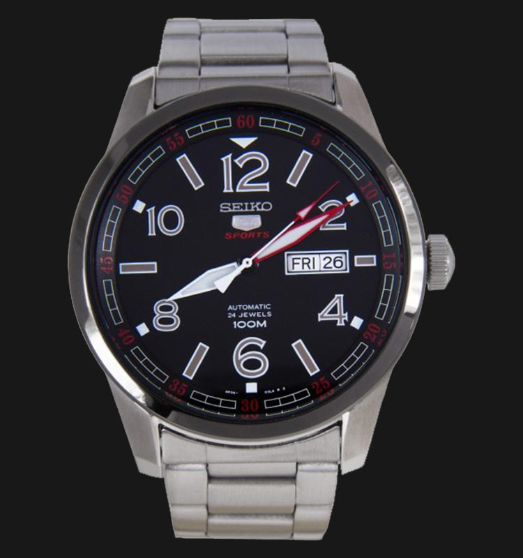 Seiko 5 Sports SRP629K1 Automatic Black Dial Stainless Steel Bracelet Machtwatch