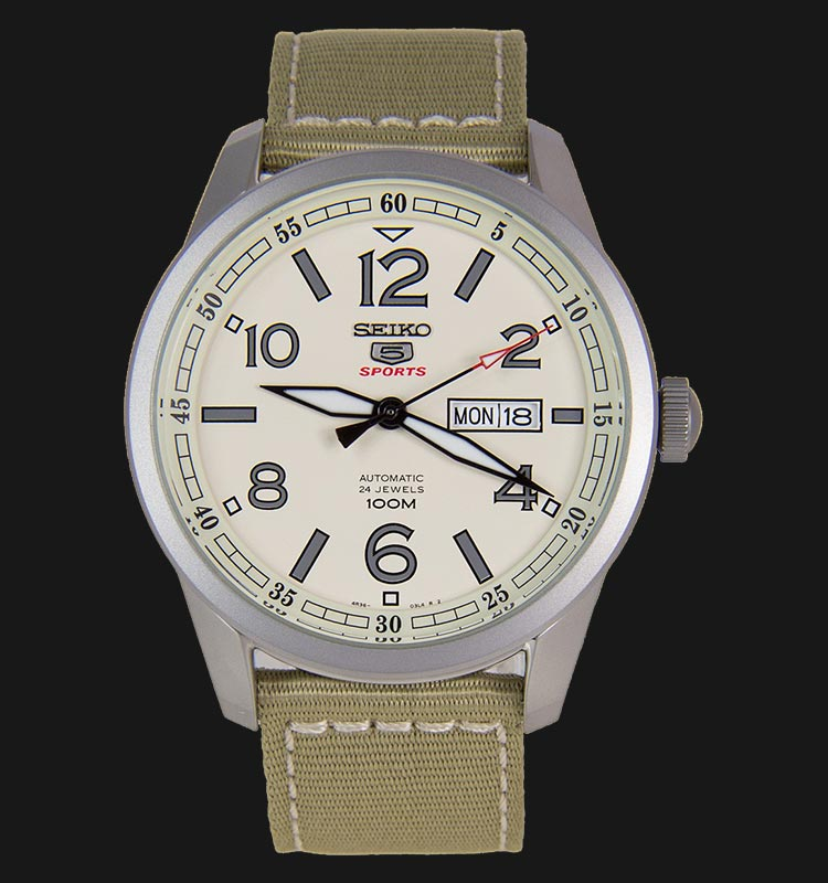 Seiko 5 Sports SRP635K1 Automatic Beige Dial Stainless Steel Case Nylon Strap Machtwatch