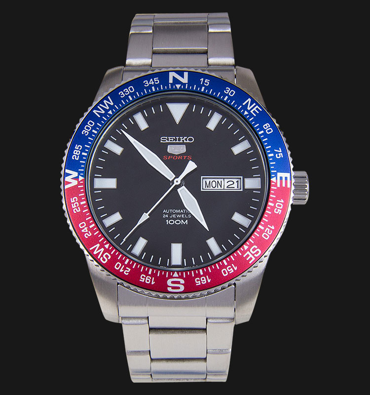 Seiko 5 Sports SRP661K1 Automatic Black Dial Stainless Steel Bracelet Machtwatch