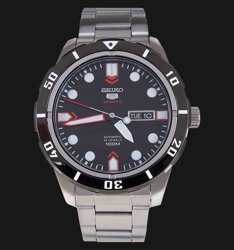 Seiko 5 Sports SRP673K1 Automatic Black Dial Stainless Steel Bracelet Machtwatch