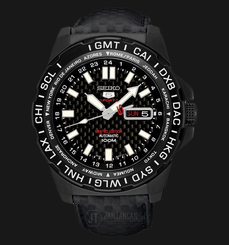 Seiko 5 Sports SRP723K1 Automatic Black Dial Black Leather Strap Limited Edition Machtwatch
