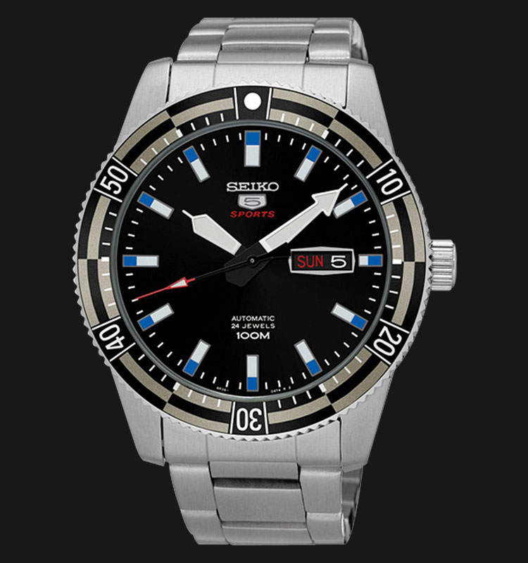 Seiko 5 Sports SRP733K1 Black Blue Dial Stainless Steel Bracelet Machtwatch