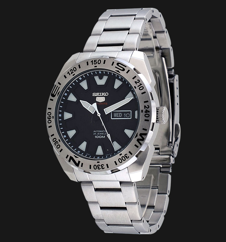 Seiko 5 Sports SRP739K1 Automatic 24 Jewels Black Dial Stainless Steel Machtwatch