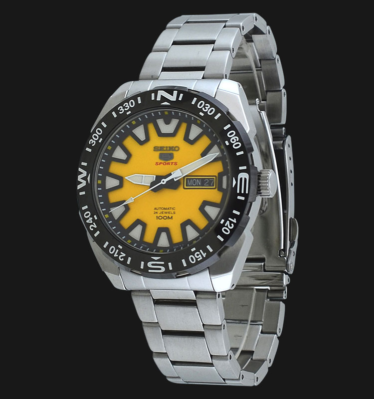 Seiko 5 Sports SRP745K1 Yellow Dial Stainless Steel Bracelet Machtwatch
