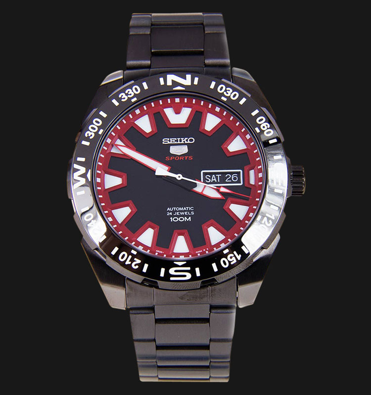 Seiko 5 Sports SRP749K1 Black Red Dial Stainless Steel Bracelet Machtwatch