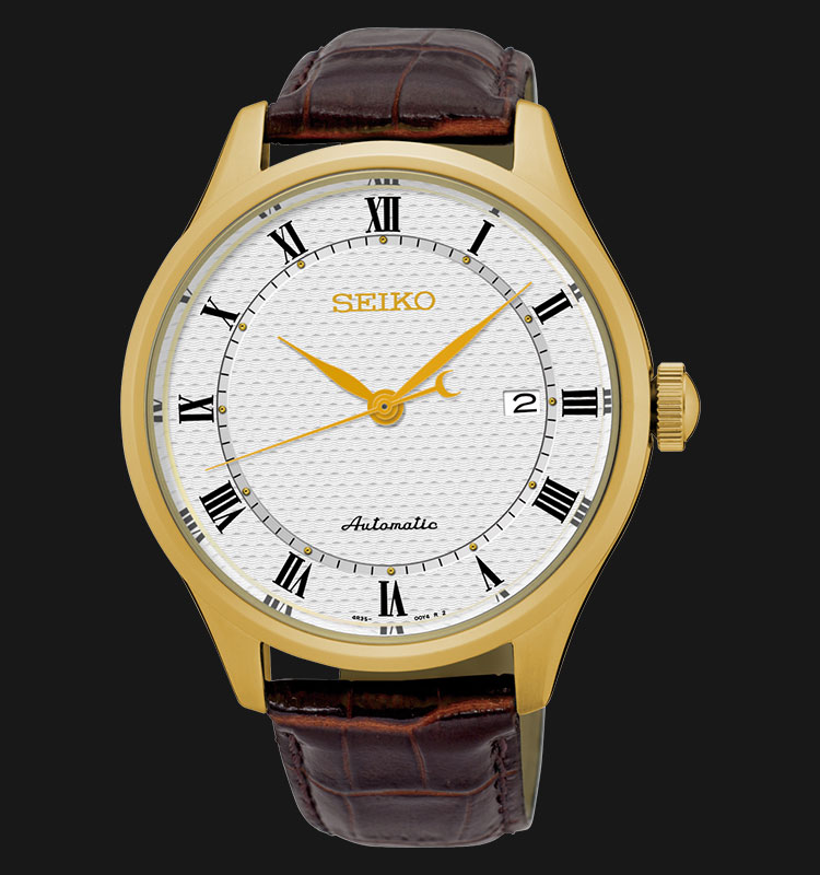 Seiko Automatic SRP770K1 White Dial Genuine Brown Leather Strap Machtwatch