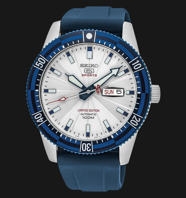 Seiko 5 Sports SRP781K1 Automatic White Dial Blue Rubber Strap Limited Edition Machtwatch