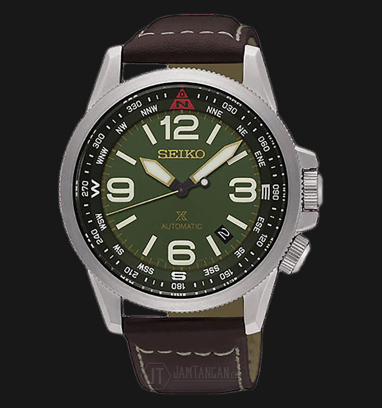 Seiko Prospex SRPA77K1 Automatic Green Dial Brown Leather Strap Machtwatch