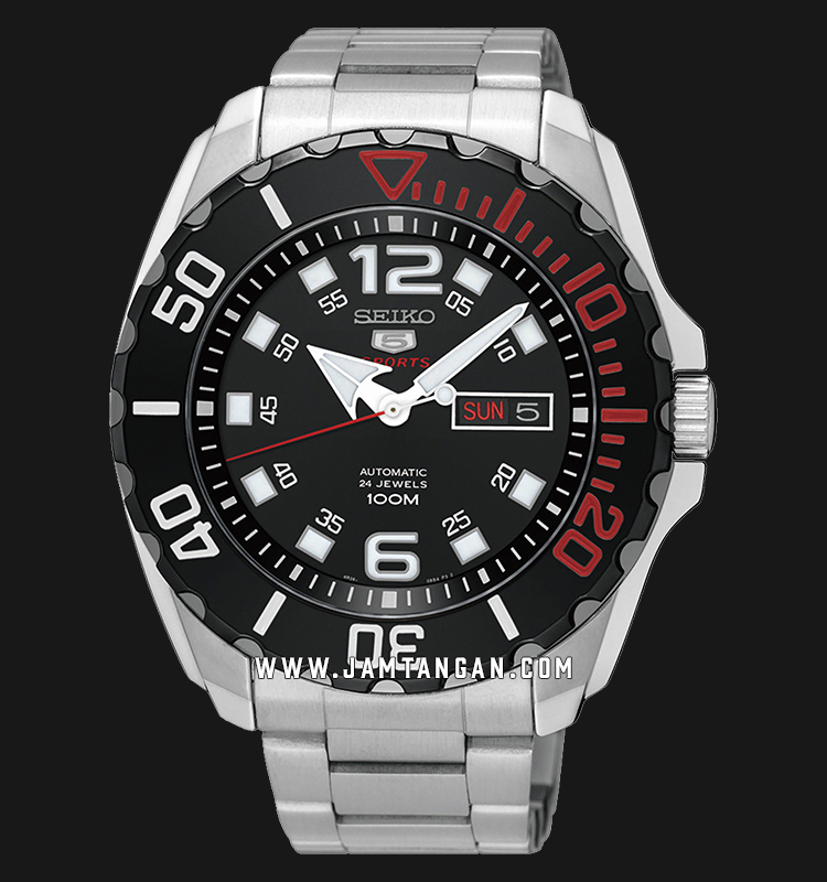 Seiko SRPB35K1 5 Sports Baby Monster Automatic Black Dial Stainless Steel Machtwatch
