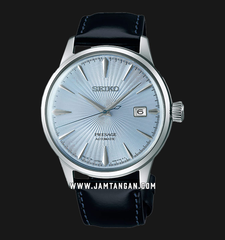 Seiko SRPB43J1 Presage Skydiving Cocktail Automatic White Texture Dial Black Leather Strap Machtwatch