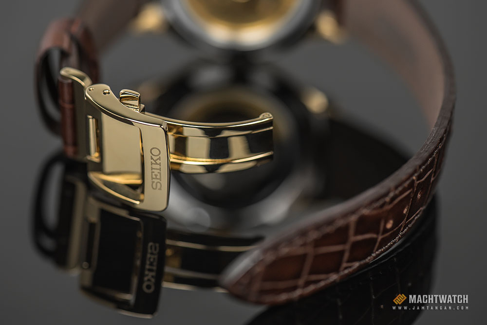 Seiko SRPB44J1 Presage Margarita Cocktail Automatic Champagne Texture Dial Brown Leather Strap Machtwatch