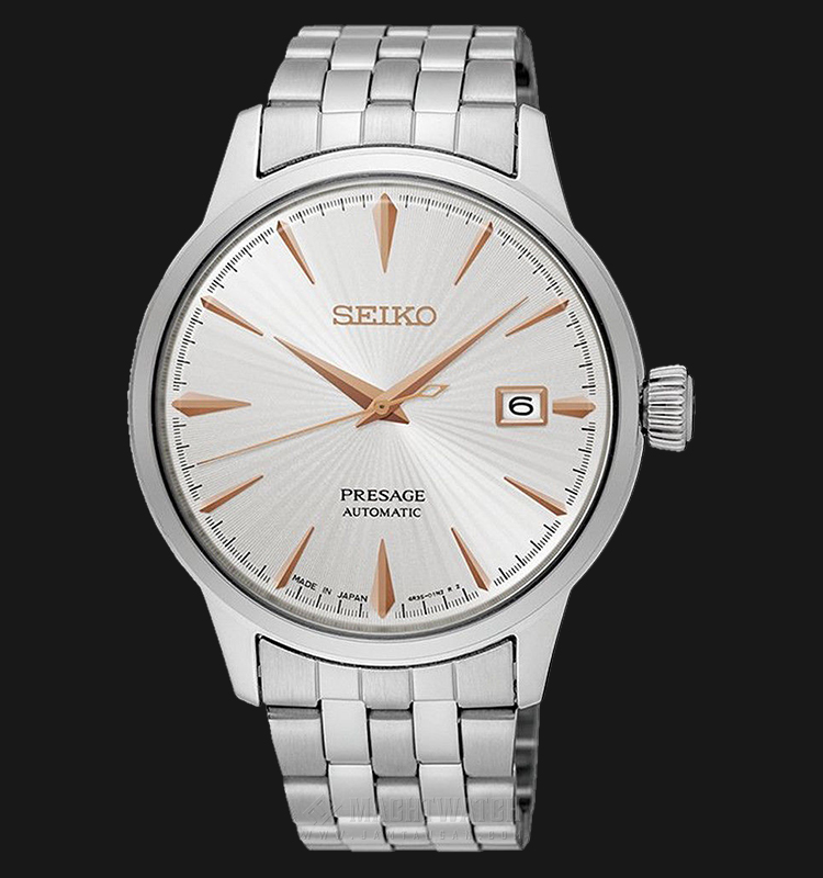 Seiko SRPB47J1 Presage White Sunburst Cocktail Automatic Silver Texture Dial Stainless Steel Strap Machtwatch