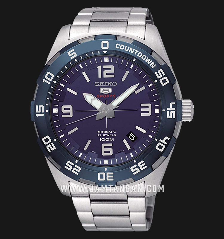 Seiko 5 SRPB85K1 Sport Automatic Men Blue Dial Stainless Steel Strap Machtwatch