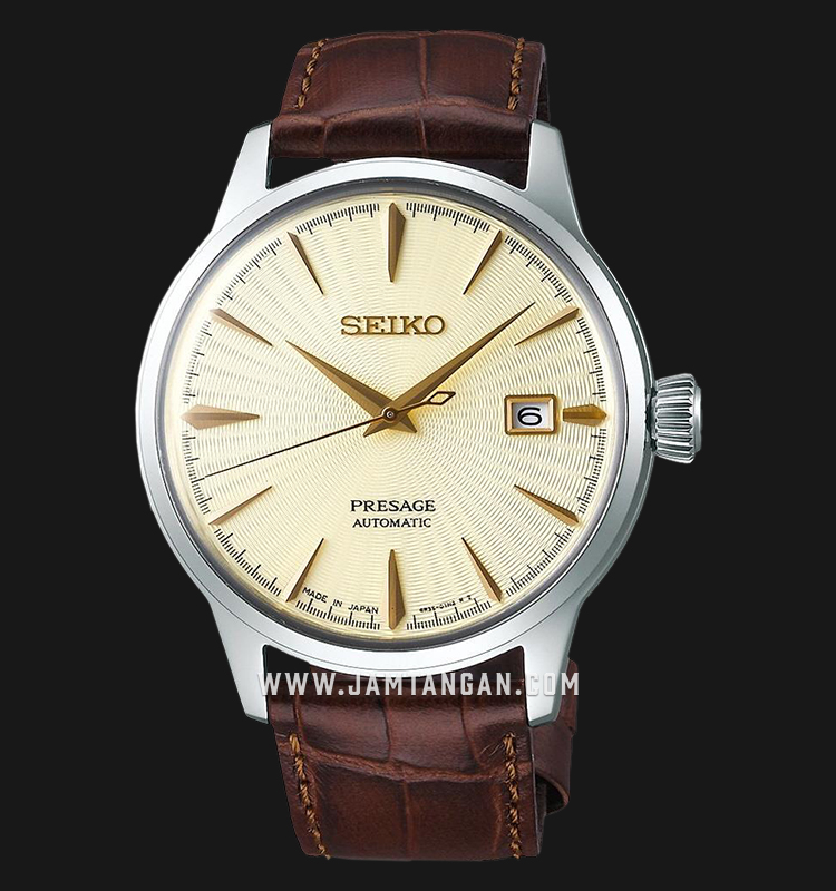 Seiko Presage SRPC99J1 Cocktail Golden Champagne Automatic Light Gold Dial Brown Leather Strap Machtwatch