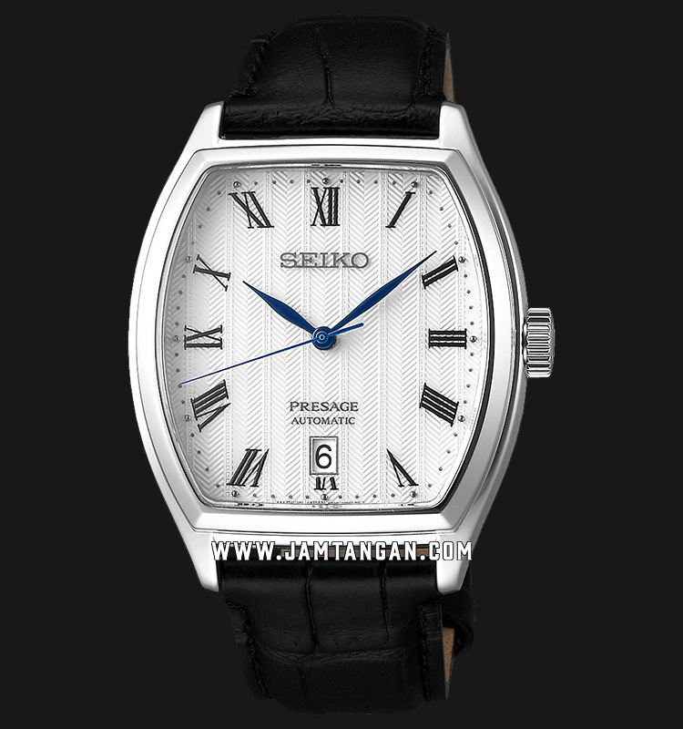 Seiko Presage SRPD05J1 Automatic White Dial Black Leather Strap Machtwatch