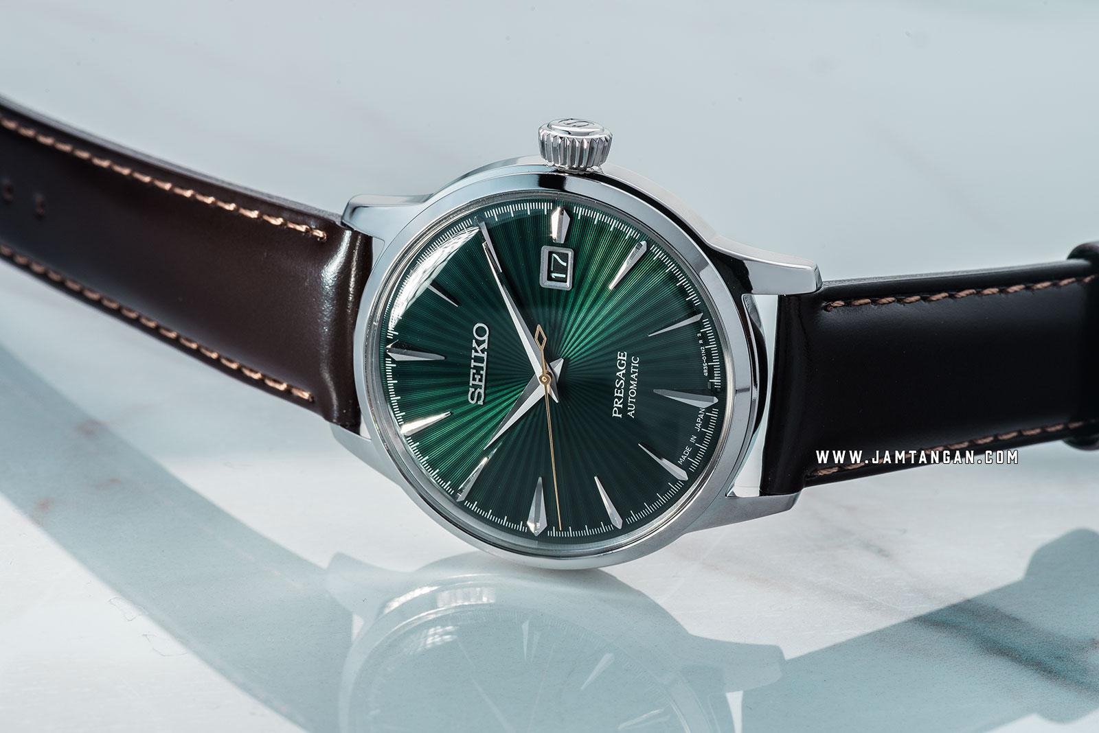 Seiko Presage SRPD37J1 Cocktail Mockingbird Automatic Green Dial Brown Leather Strap Machtwatch
