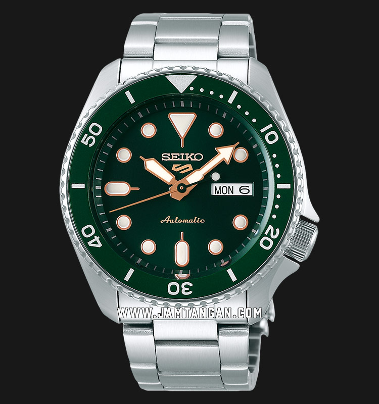 Seiko 5 Sports SRPD63K1 Automatic Green Dial Stainless Steel Strap Machtwatch