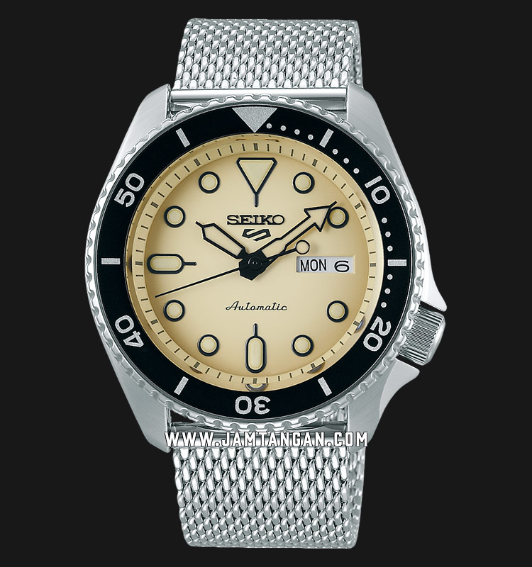 Seiko 5 Sports SRPD67K1 Automatic Beige Dial Silver Mesh Strap Machtwatch