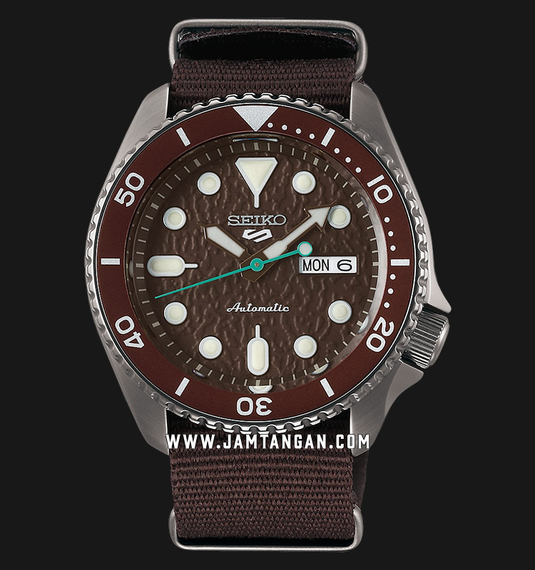 Seiko 5 Sports SRPD85K1 Automatic Brown Dial Brown Nylon Strap Machtwatch