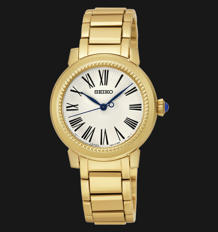 Seiko Ladies SRZ450P1 Quartz White Dial Gold Stainless Steel Bracelet Machtwatch