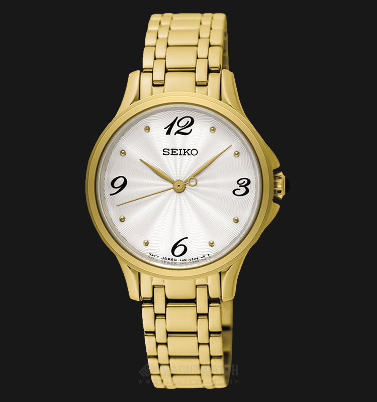 Seiko Classic SRZ494P1 Ladies Silver Dial Gold Stainless Steel Strap Machtwatch