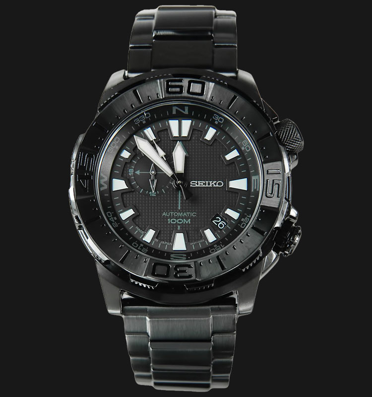 Seiko Automatic SSA051K1 Men 100M Water Resistant Black Pattern Dial Stainless Steel Strap Machtwatch