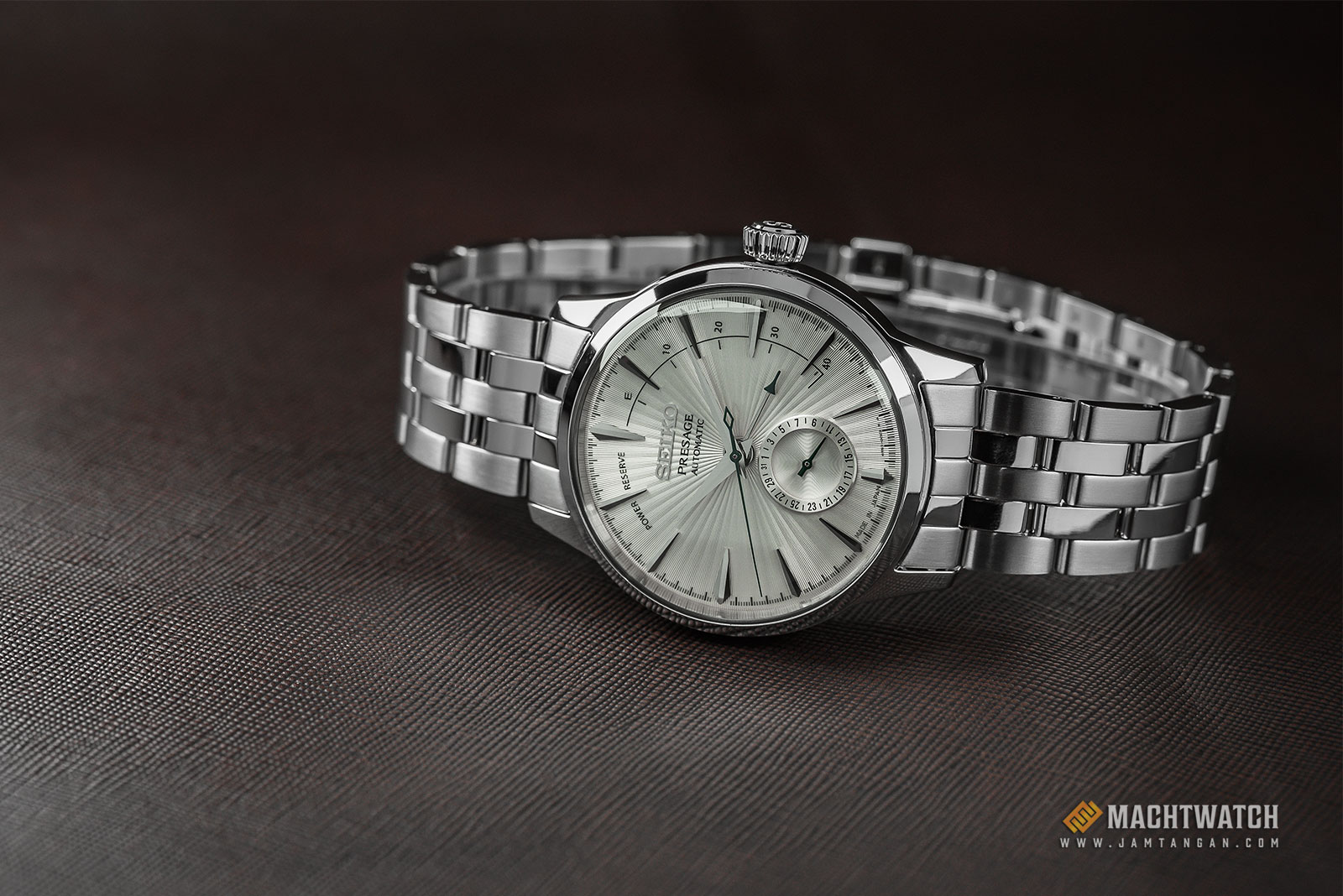 Seiko SSA341J1 Presage Martini Cocktail Automatic Silver Texture Dial Stainless Steel Strap Machtwatch