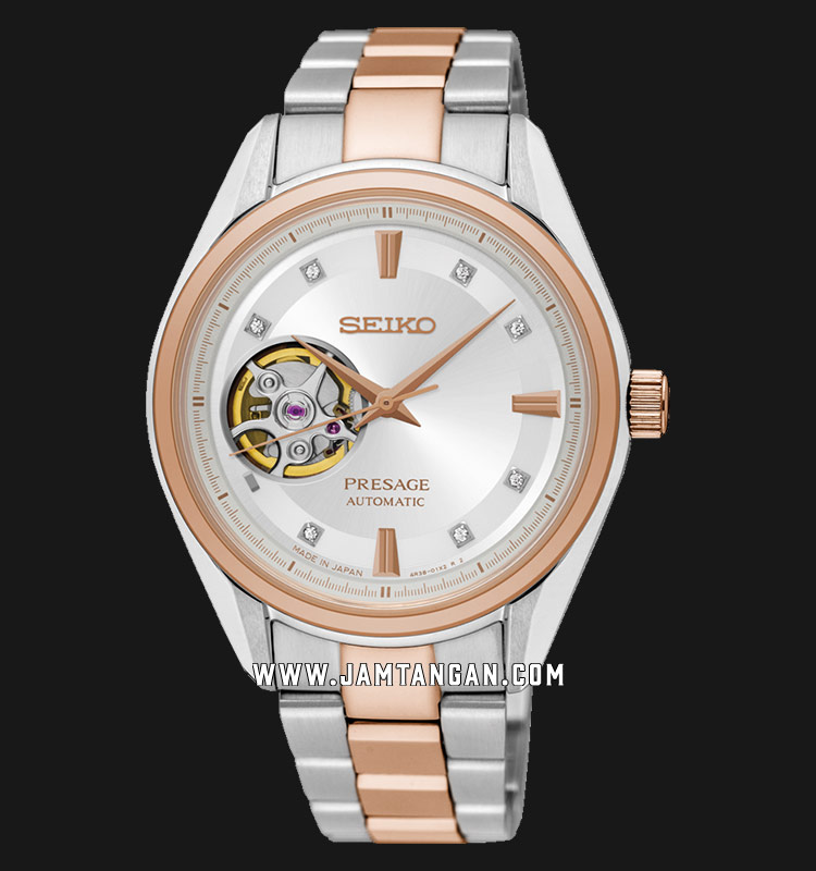 Seiko Presage SSA810J1 Automatic Open Heart Silver Dial Dual Tone Stainless Steel Strap Machtwatch