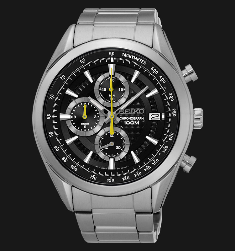 Seiko Chronograph SSB175P1 Black Dial Yellow Hands Stainless Steel Machtwatch