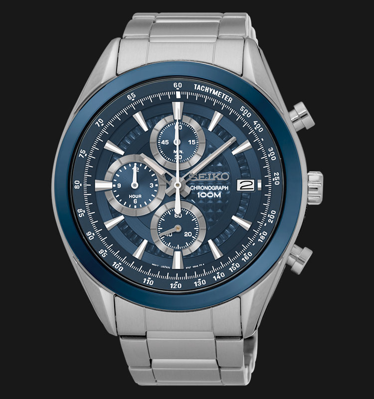 Seiko Chronograph SSB177P1 Blue Dial Silver Hands Stainless Steel Machtwatch