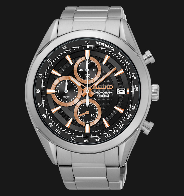 Seiko Chronograph SSB199P1 Black Dial Rose Gold Hands Stainless Steel Machtwatch