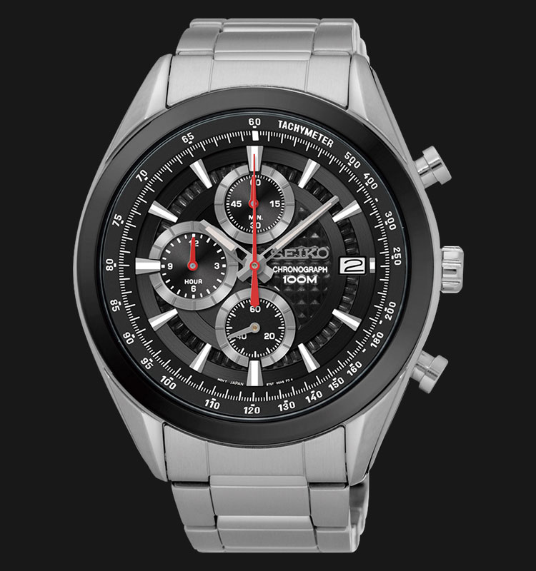 Seiko Chronograph SSB201P1 Black Dial Red Hands Stainless Steel Machtwatch