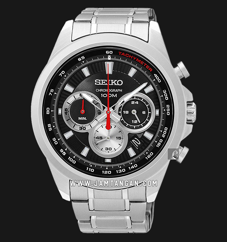 Seiko SSB241P1 Chronograph Quartz Tachymeter Black Dial Stainless Steel Machtwatch