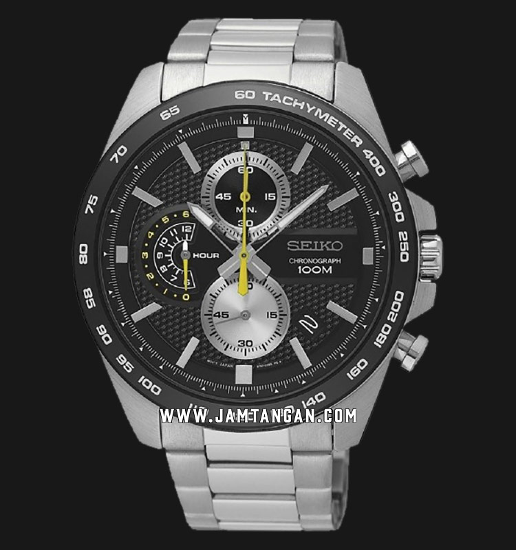 Seiko Chronograph SSB261P1 Black Dial Stainless Steel Strap Machtwatch