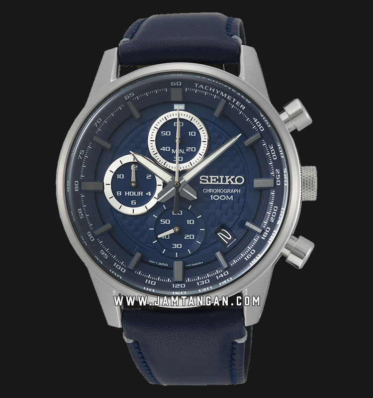 Seiko Chronograph SSB333P1 Discover More Blue Dial Blue Leather Strap Machtwatch