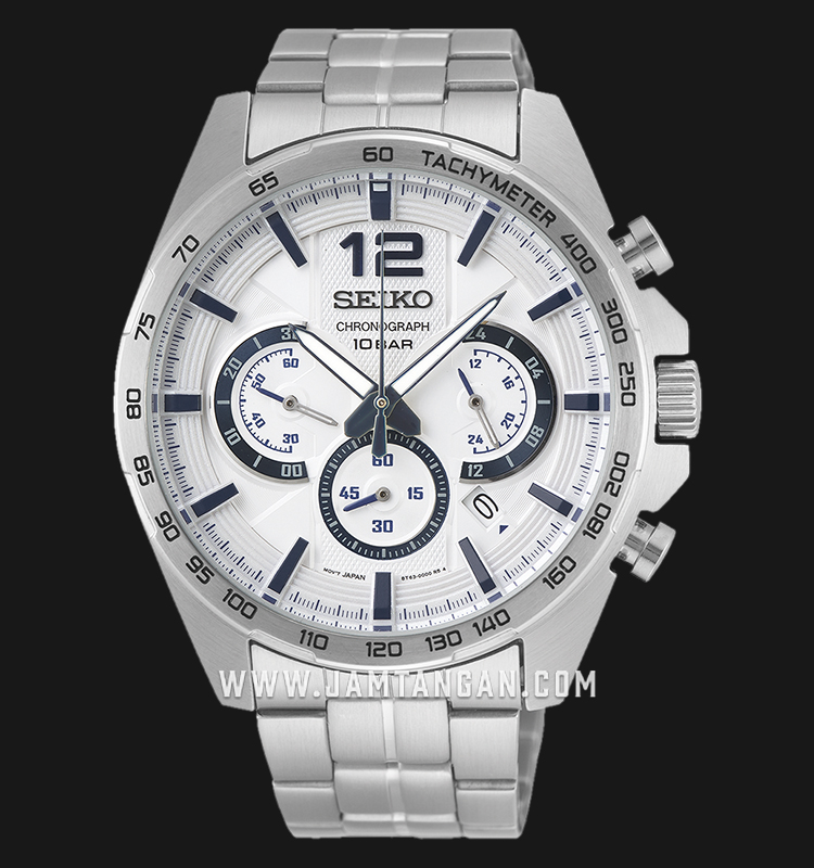 Seiko Chronograph SSB343P1 Neo Sport White Dial Stainless Steel Strap Machtwatch