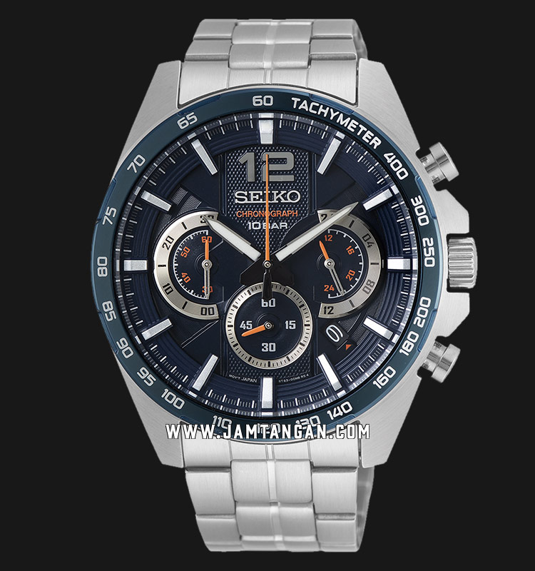 Seiko Chronograph SSB345P1 Neo Sport Navy Dial Stainless Steel Strap Machtwatch