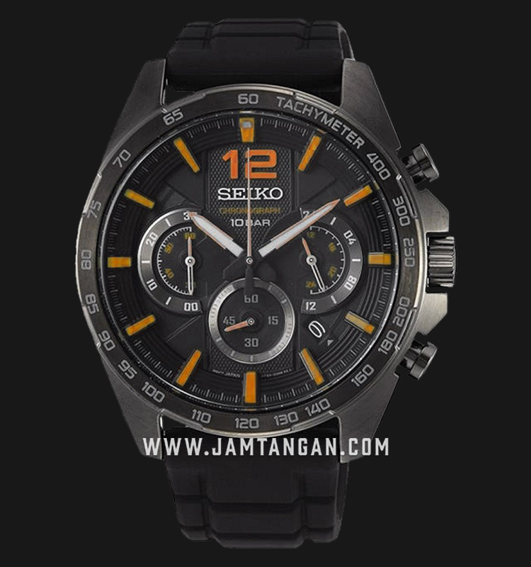 Seiko Chronograph SSB351P1 Neo Sport Black Dial Black Rubber Strap Machtwatch