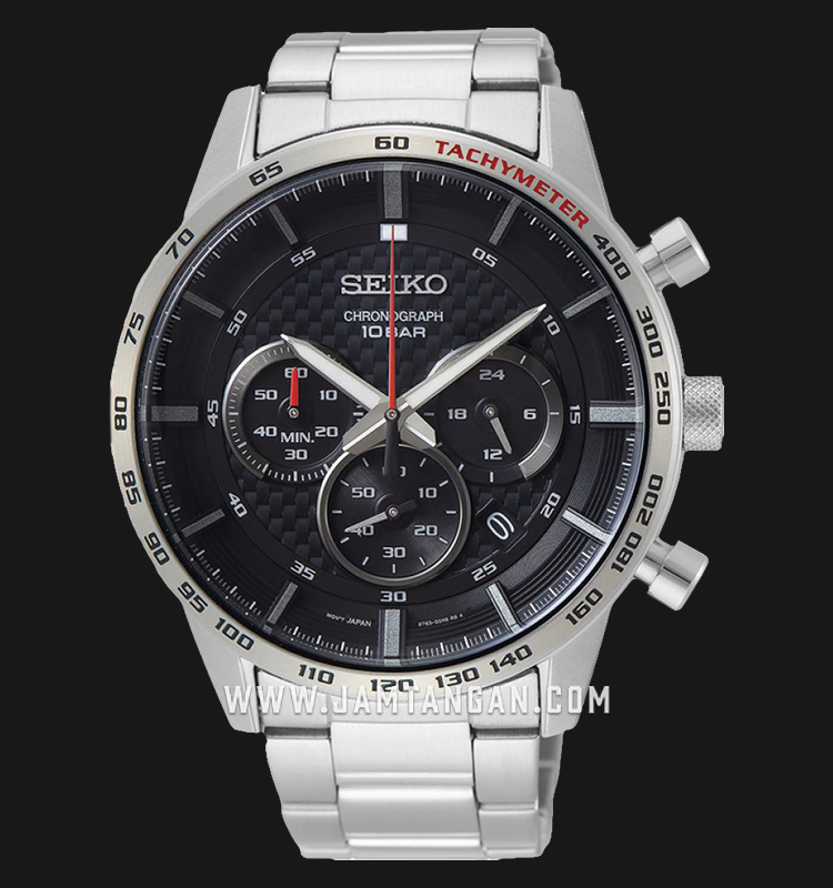 Seiko Chronograph SSB355P1 Neo Sport Black Dial Stainless Steel Strap Machtwatch