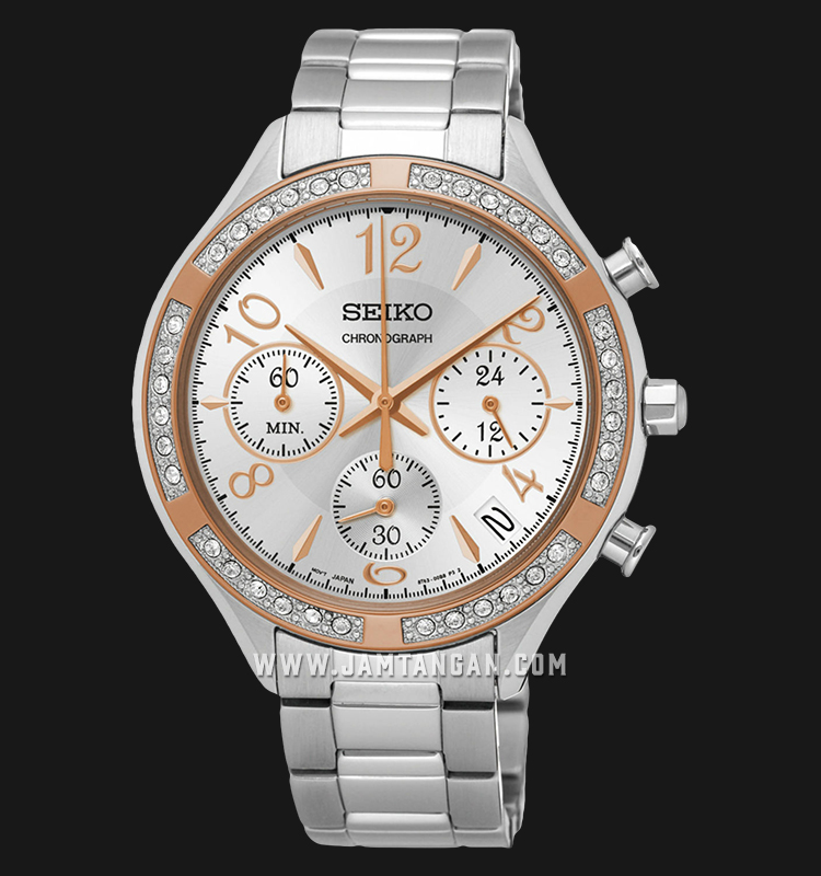 Seiko Chronograph SSB892P1 Ladies Silver Dial Stainless Steel Strap Machtwatch