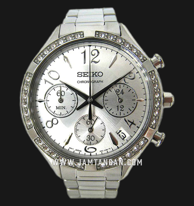 Seiko Chronograph SSB899P1 Ladies Silver Dial Stainless Steel Strap Machtwatch