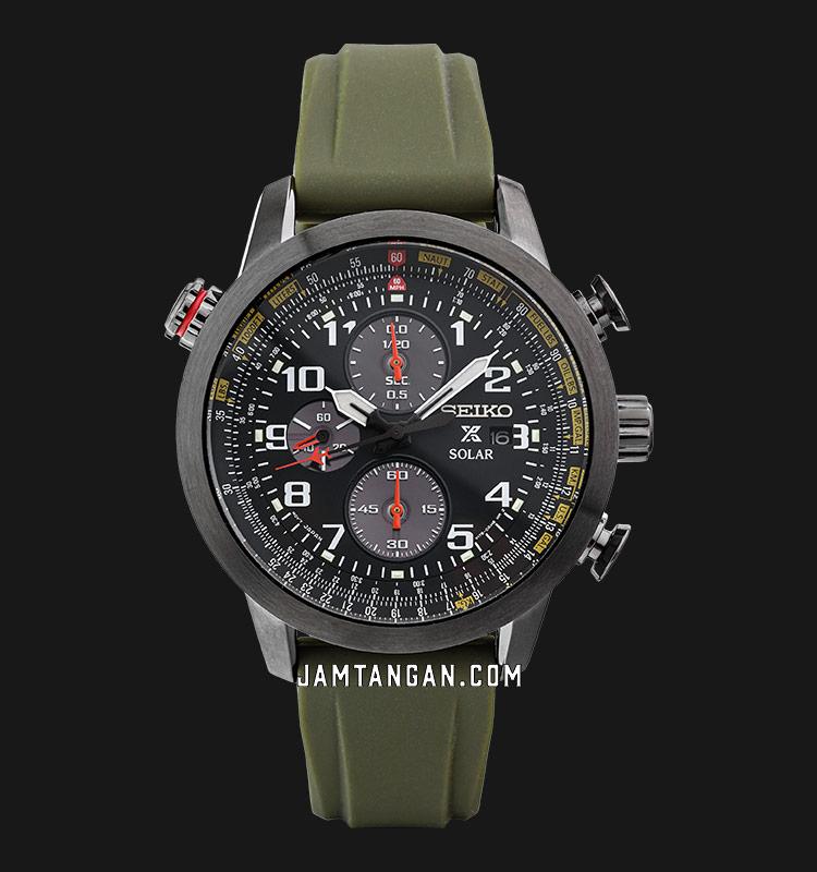 Seiko Prospex SSC353P1 Sky Solar Chronograph Black Dial Green Military Rubber Machtwatch
