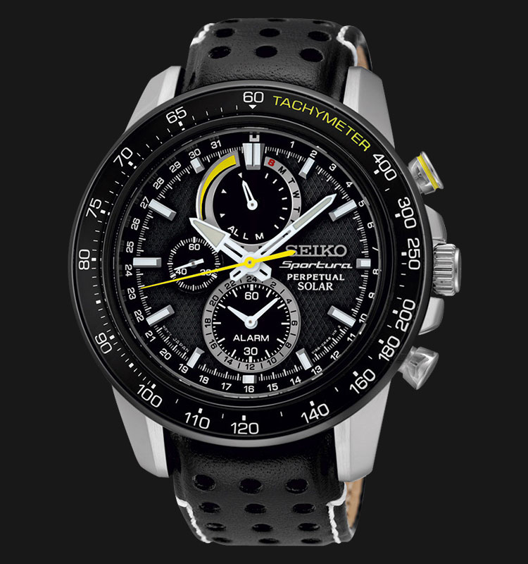 Seiko Sportura SSC361P1 Perpetual Solar Chronograph Black Leather Strap Machtwatch