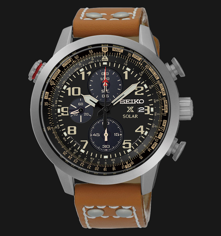 Seiko Prospex SSC421P1 Sky Solar Chronograph Black Dial Brown Leather Strap Machtwatch